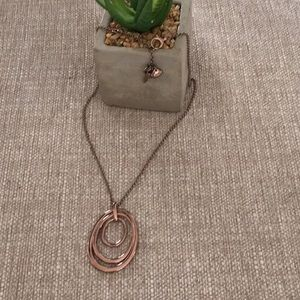 Fossil rose gold triple oval necklace